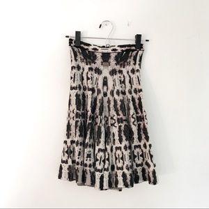 BCBG Silk-Cotton Knit Black & Grey Print Skirt